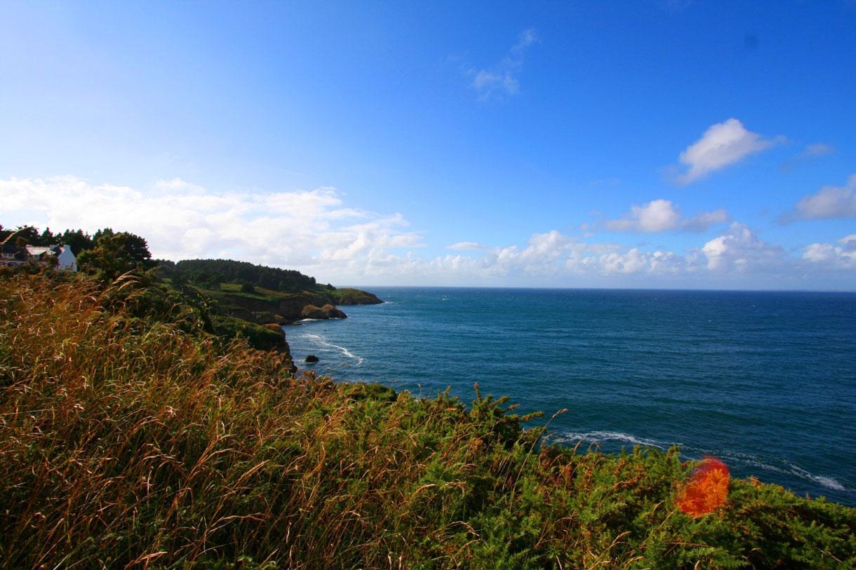 Sentier côtier sur la côte nord de Belle Ile proche de la plage de Port Jean